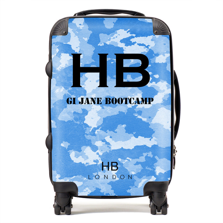 Personalised GI Jane Bootcamp Blue Camouflage with Black Font Initial Suitcase