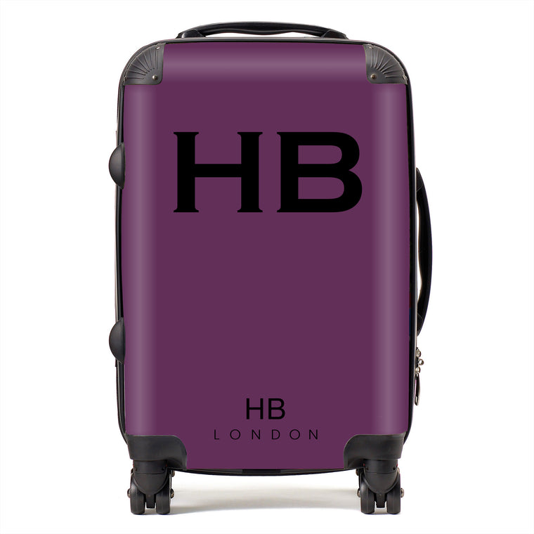 Personalised Aubergine with Black Font Initial Suitcase