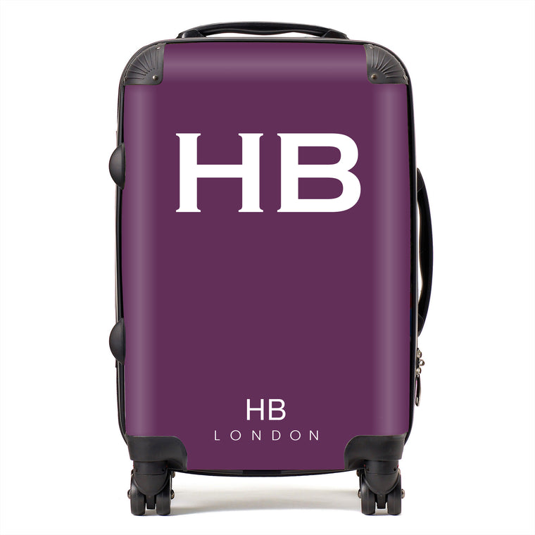 Personalised Aubergine with White Font Initial Suitcase