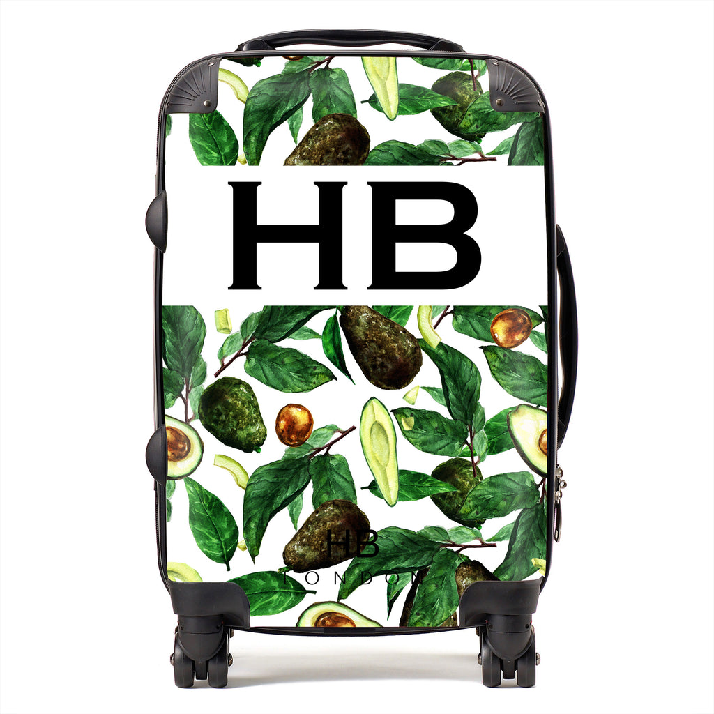 Personalised Tropical Avocado Print Initial Suitcase