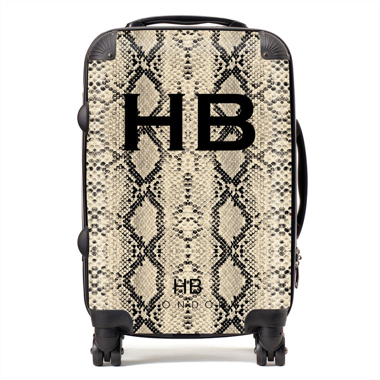 Personalised Beige Snake Skin Print with Black Font Initial Suitcase