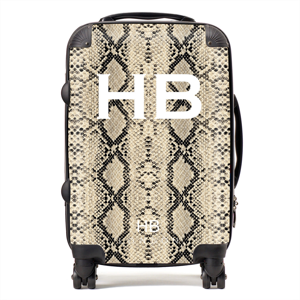 Personalised Beige Snake Skin Print with White Font Initial Suitcase