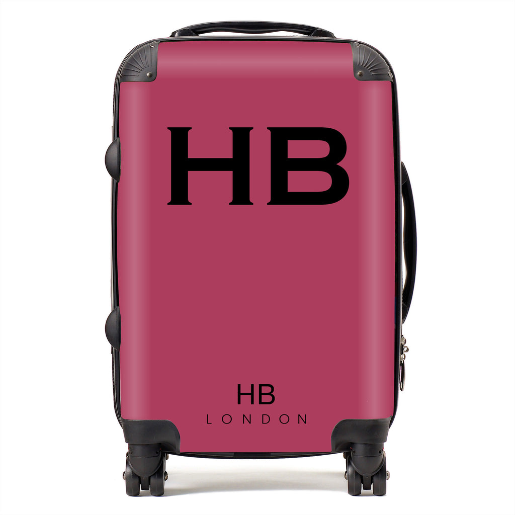 Personalised Berry with Black Font Initial Suitcase