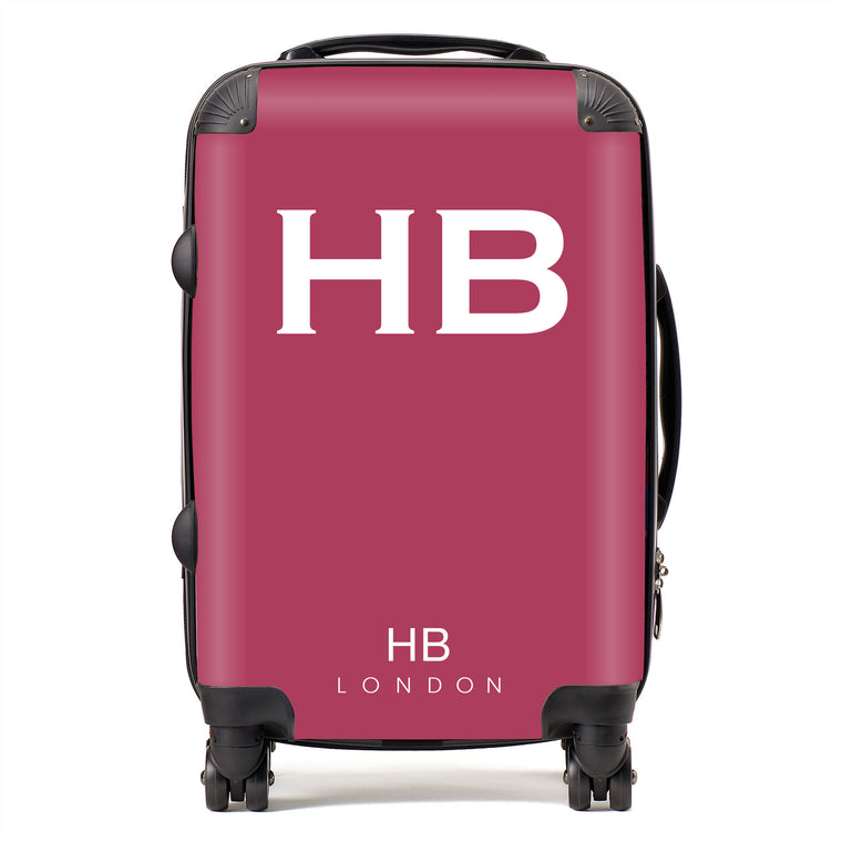 Personalised Berry with White Font Initial Suitcase