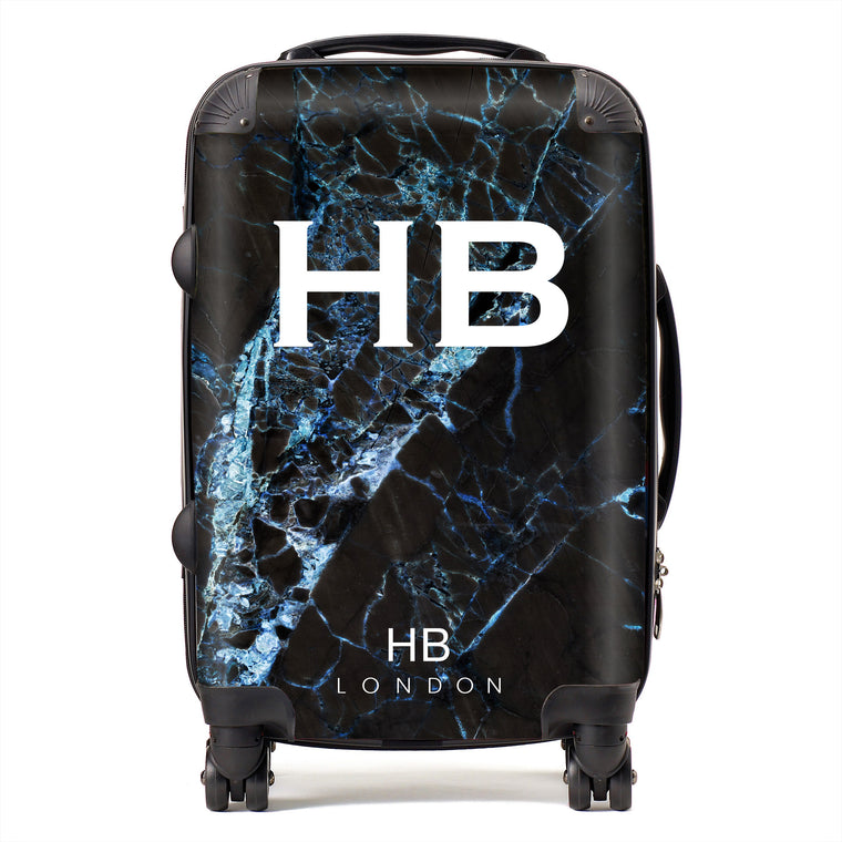 Personalised Black and Blue Cracked Marble Initial Suitcase