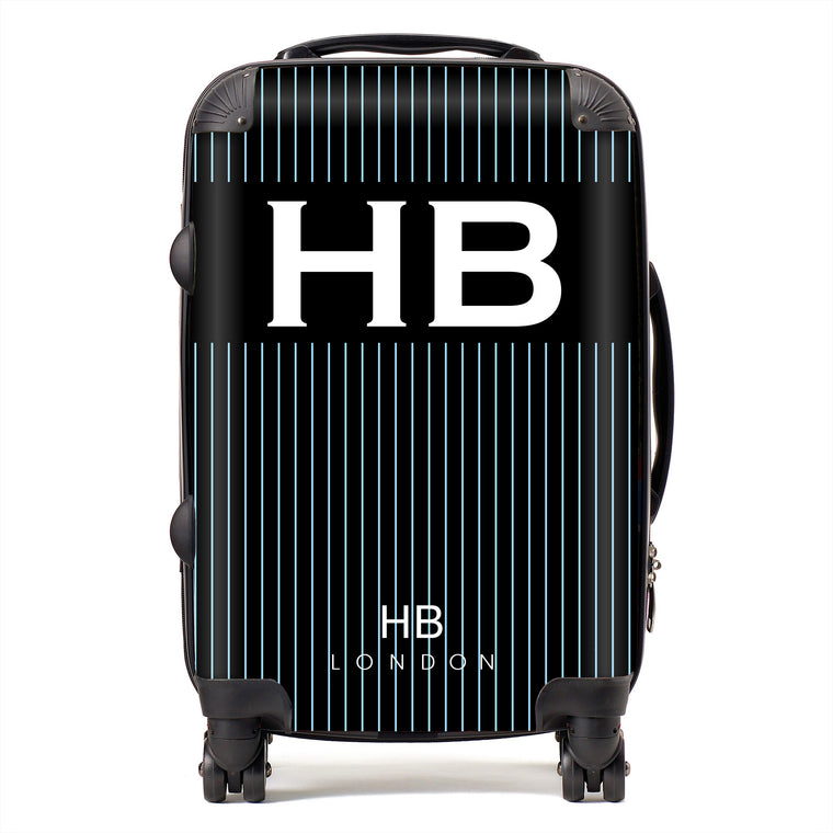 Personalised Black and Blue Pinstripe with White Font Initial Suitcase
