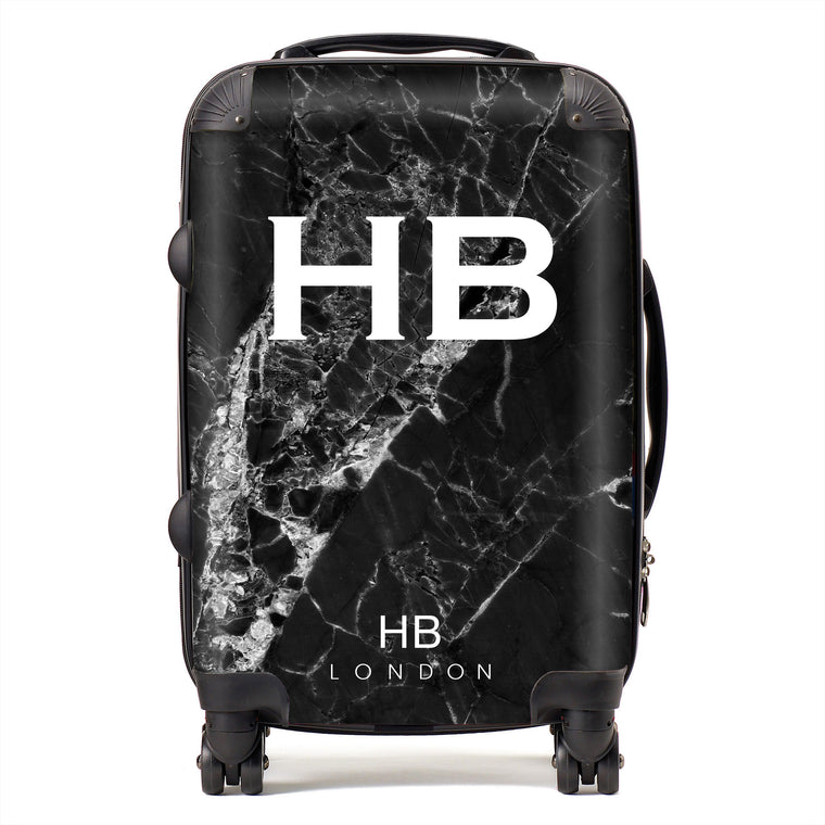Personalised Black Cracked Marble Initial Suitcase