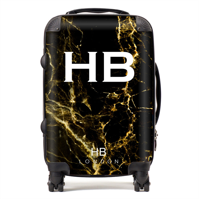 Personalised Black and Gold Marble Initial Suitcase