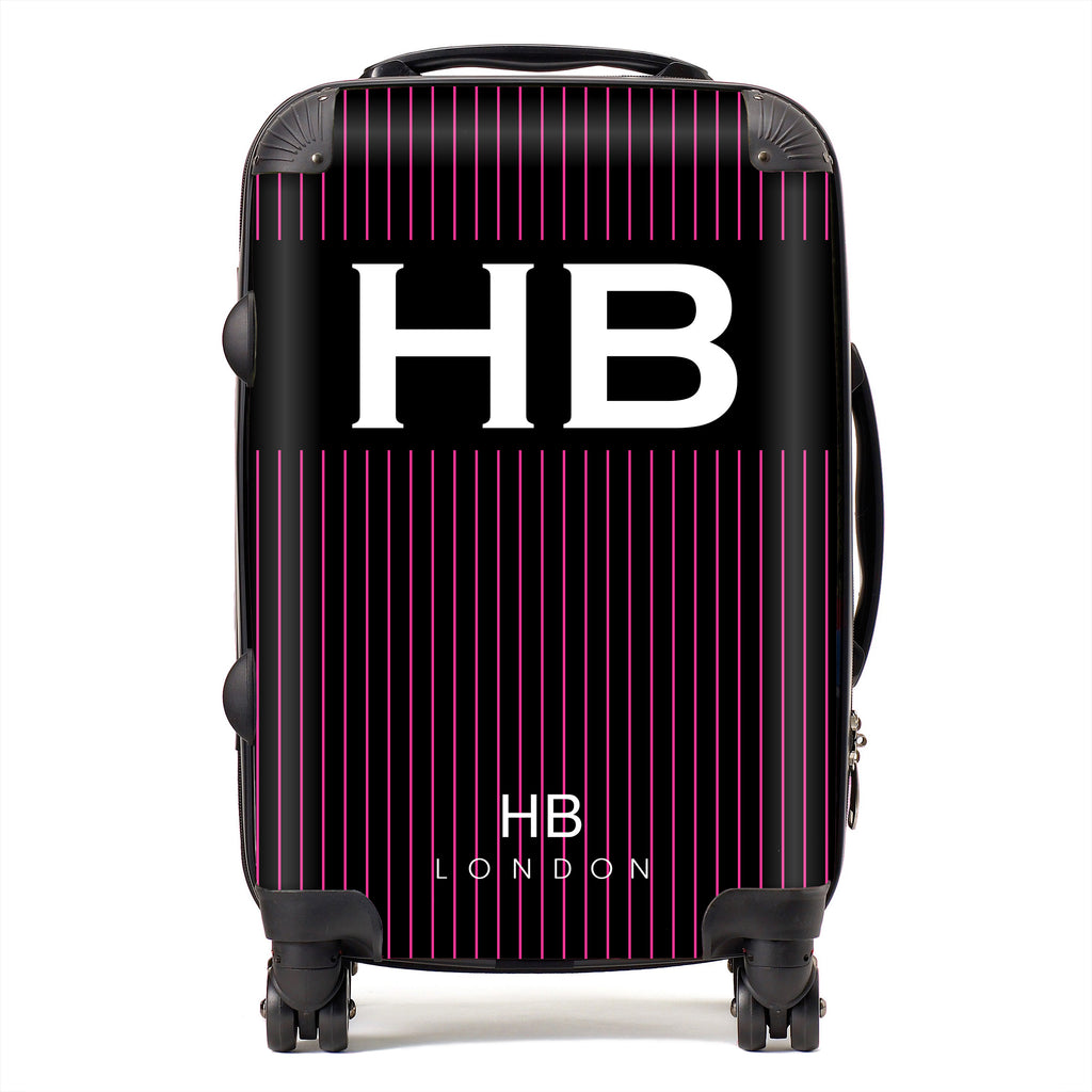 Personalised Black and Hot Pink Pinstripe with White Font Initial Suitcase