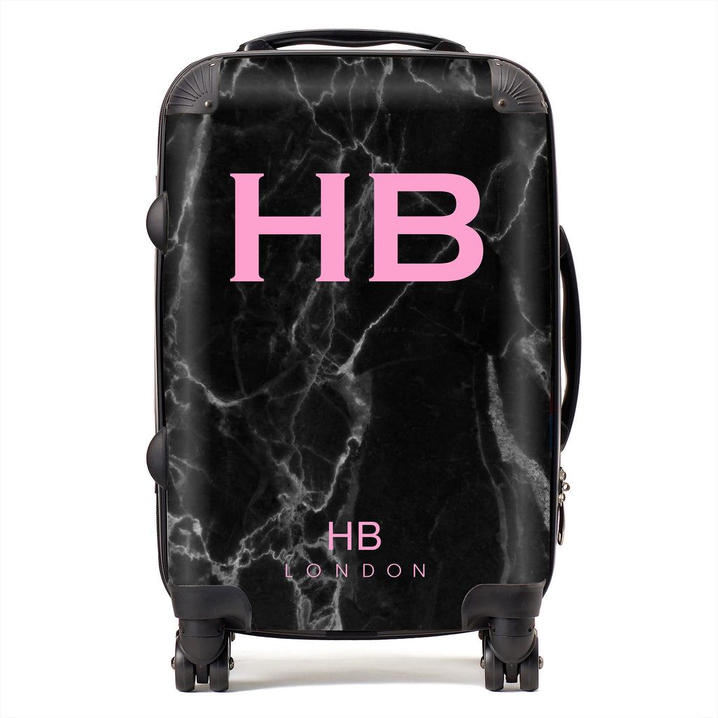 Personalised Black Marble with Pink Font Initial Suitcase