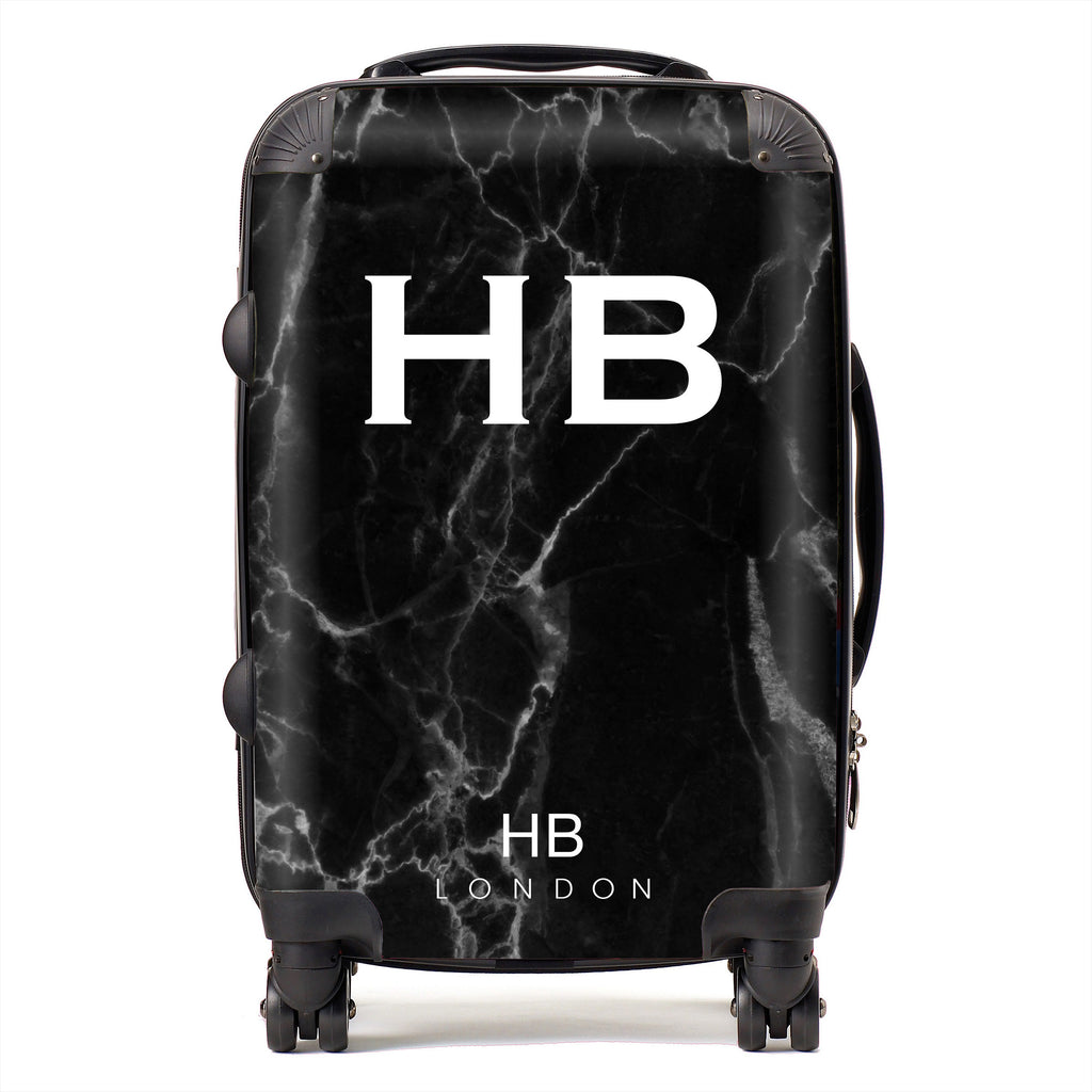 Personalised Black Marble Initial Suitcase