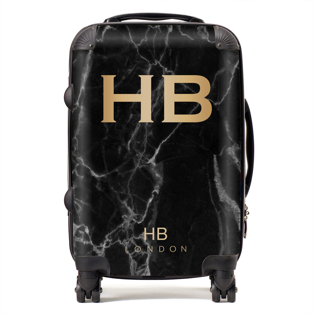 Personalised Black Marble with Gold Font Initial Suitcase