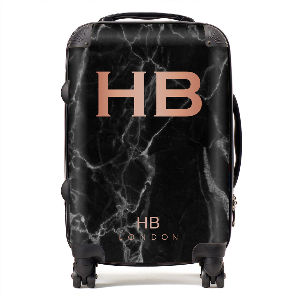 Personalised Black Marble with Rose Gold Font Initial Suitcase