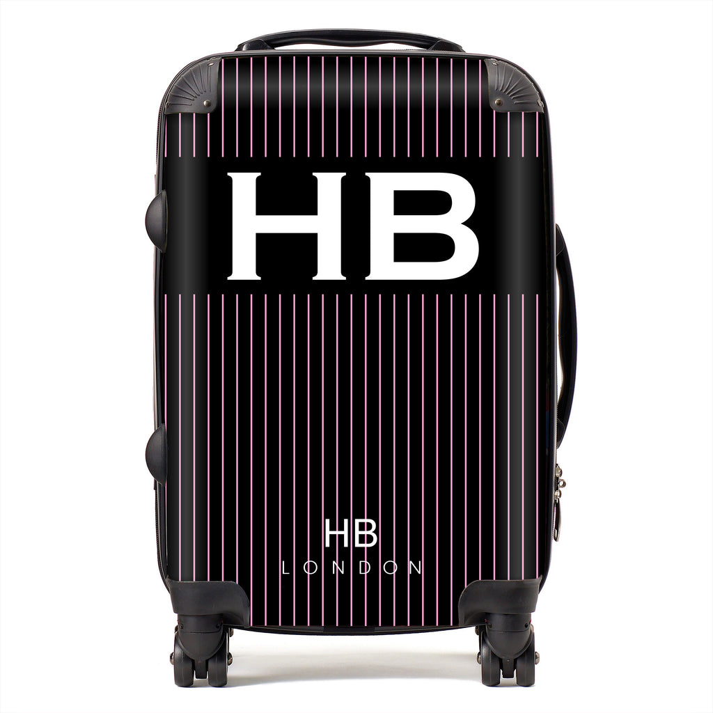 Personalised Black and Pink Pinstripe with White Font Initial Suitcase