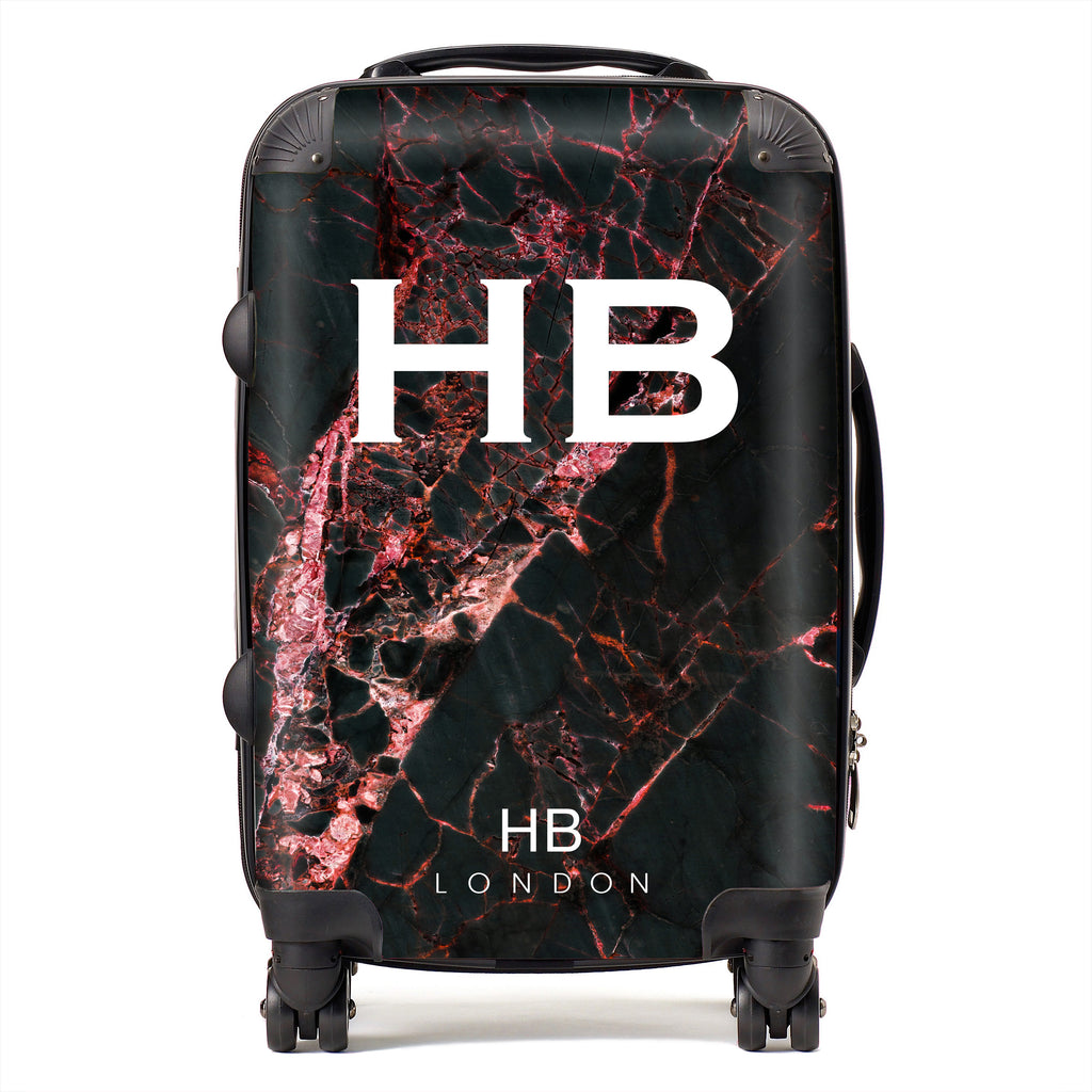 Personalised Black and Red Cracked Marble Initial Suitcase
