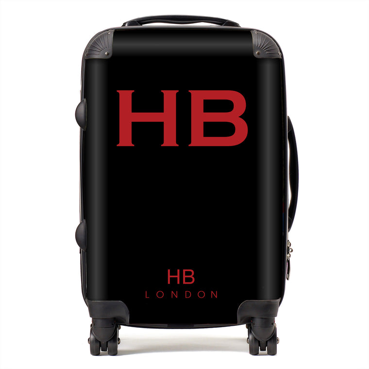 Personalised Black with Red Font Initial Suitcase