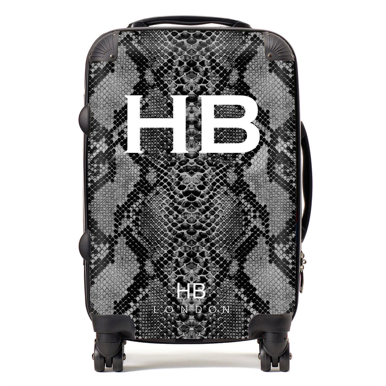 Personalised Black Snake Skin Print with White Font Initial Suitcase
