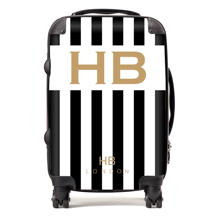 Personalised Black and White Stripe with Gold Font Initial Suitcase