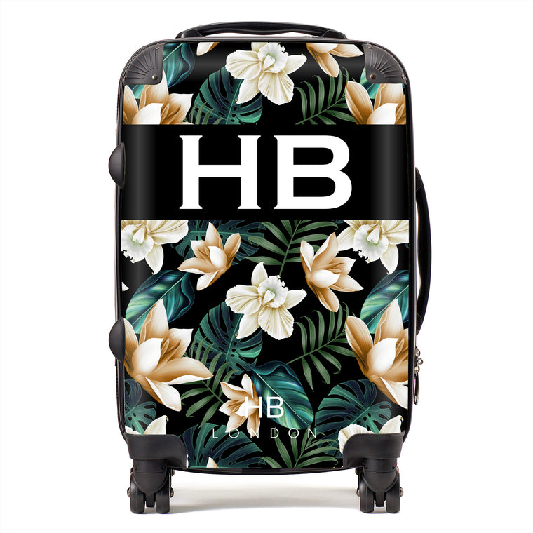 Personalised Black and Nude Tropical Flowers with White Font Initial Suitcase