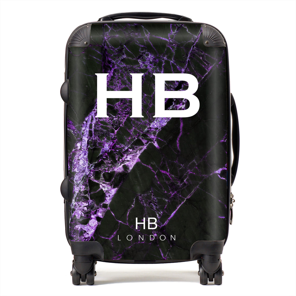 Personalised Black and Purple Cracked Marble Initial Suitcase