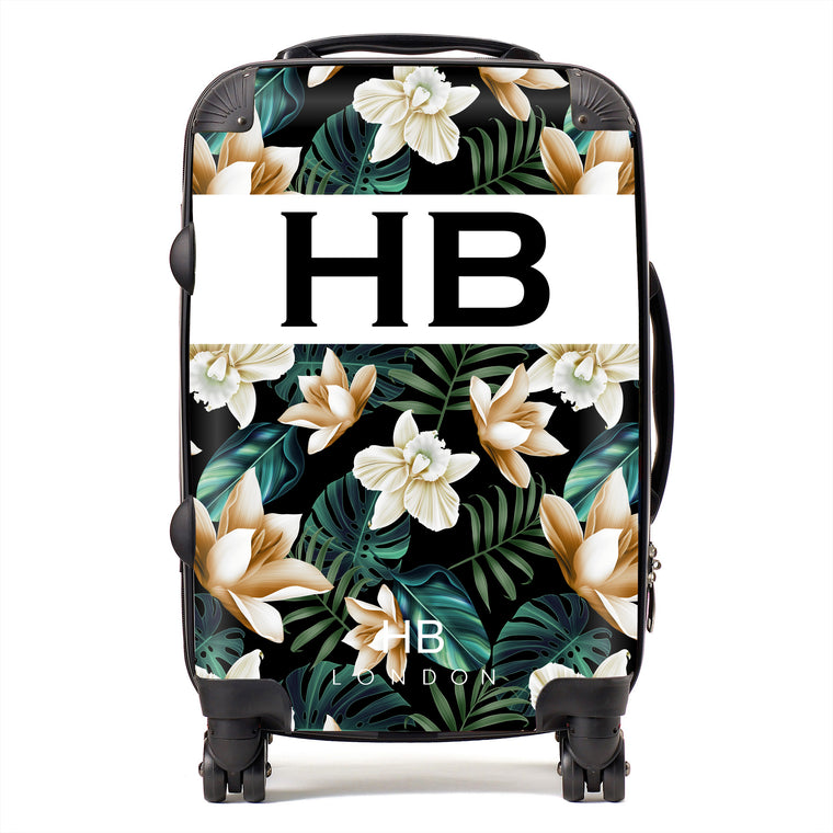 Personalised Black and Nude Tropical Flowers with Black Font Initial Suitcase
