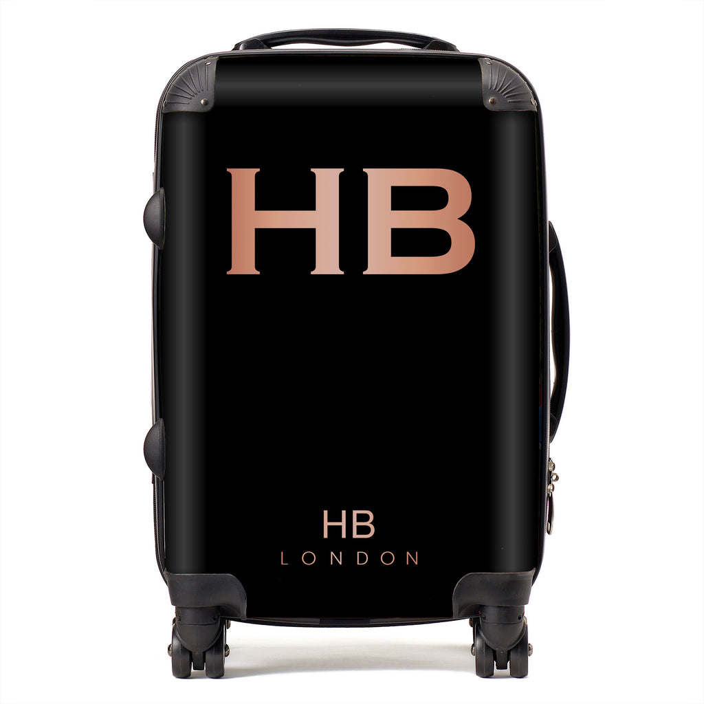 Personalised Black with Rose Gold Font Initial Suitcase