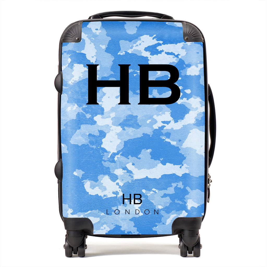 Personalised Blue Camouflage with Black Font Initial Suitcase