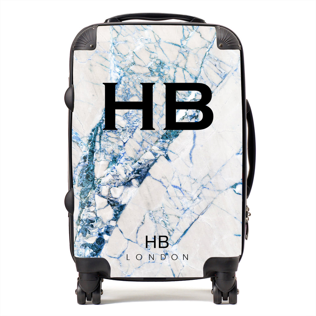 Personalised Blue Cracked Marble Initial Suitcase