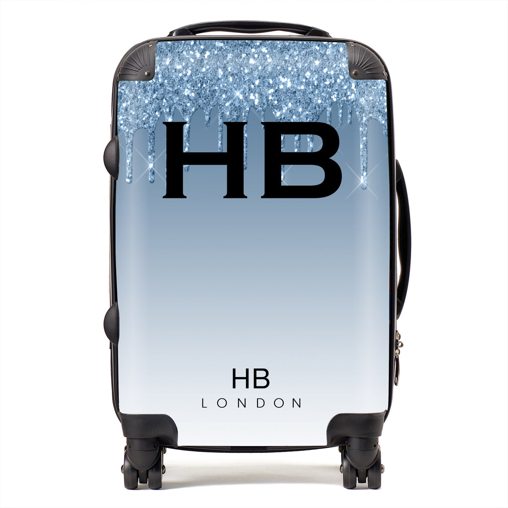 Personalised Blue Drip Glitter Effect with Black Font Initial Suitcase