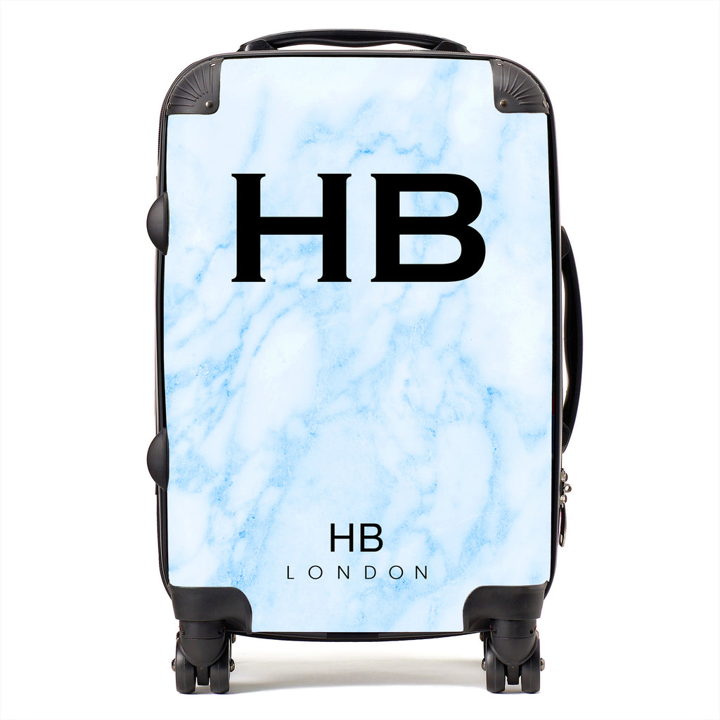 Personalised Blue Marble Initial Suitcase