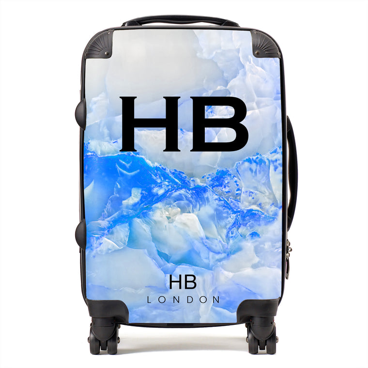 Personalised Blue Onyx Initial Suitcase