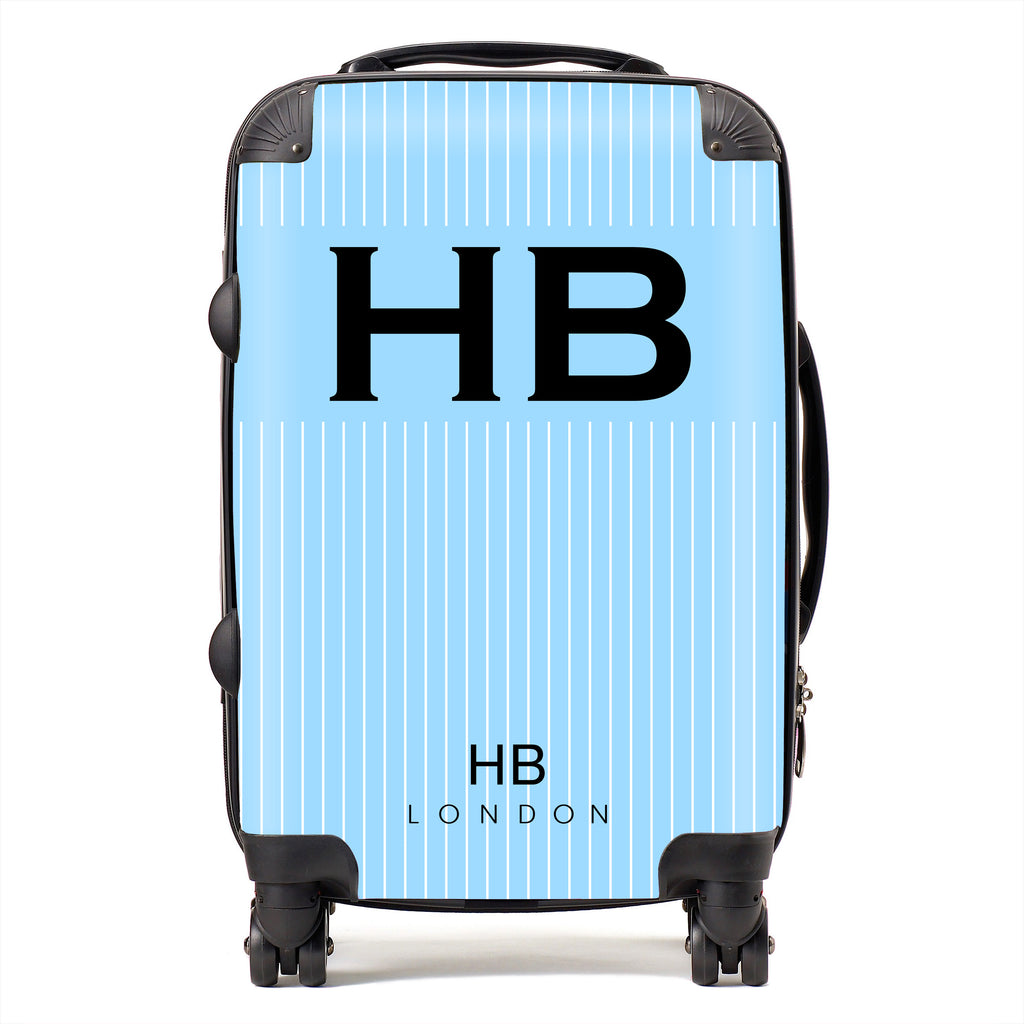Personalised Blue Pinstripe with Black Font Initial Suitcase