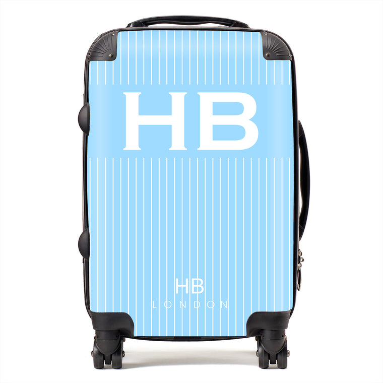 Personalised Blue Pinstripe with White Font Initial Suitcase