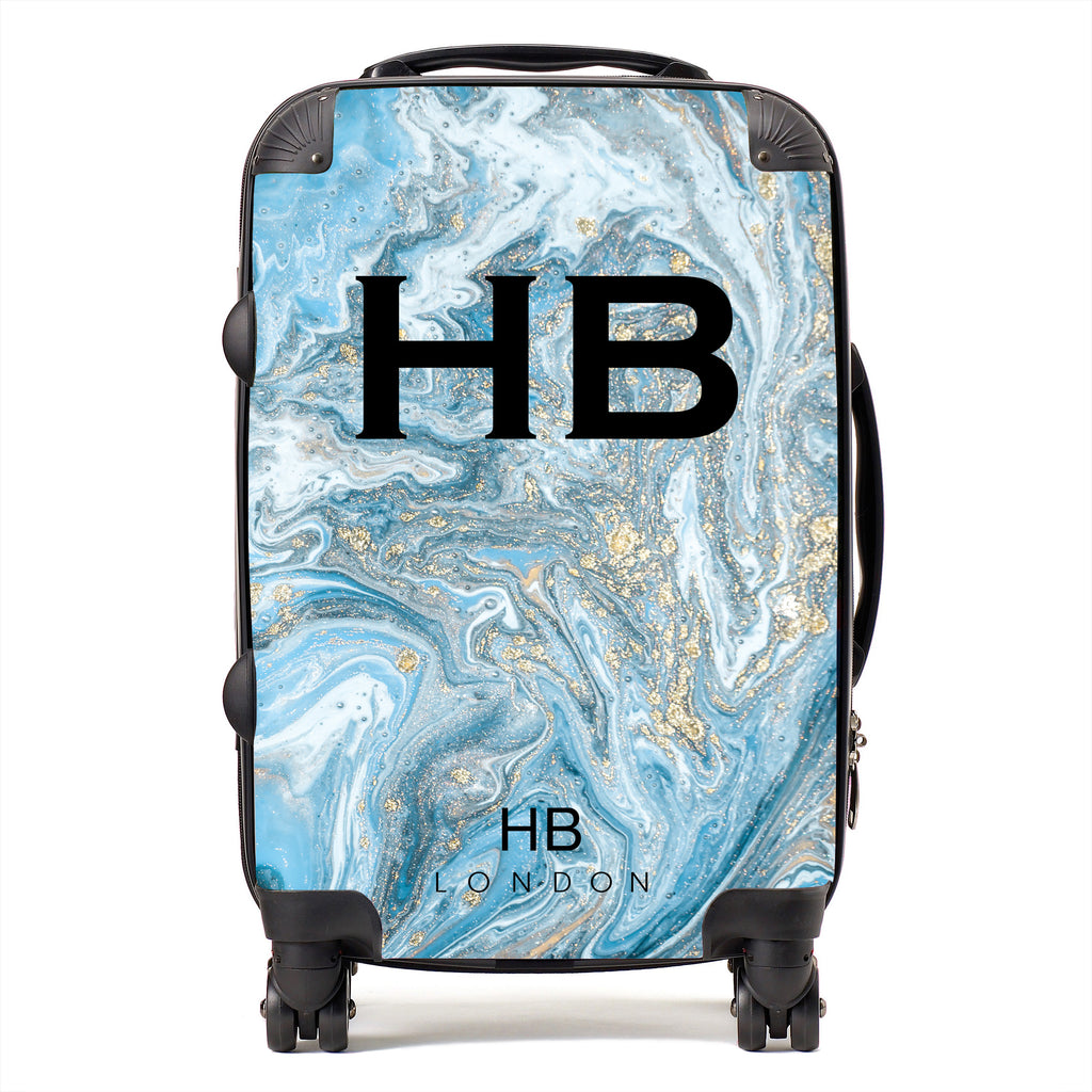 Personalised Blue and Gold Marble with Black Font Initial Suitcase