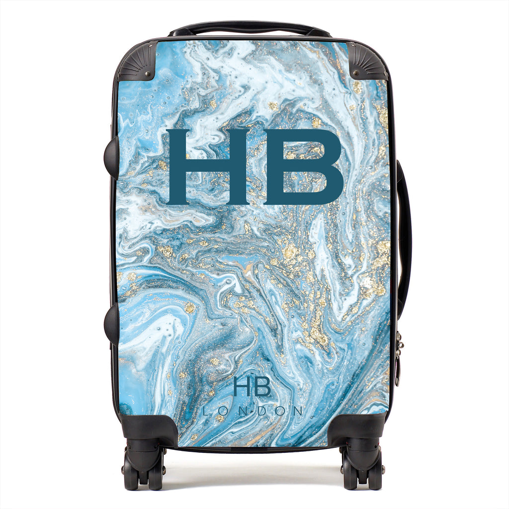 Personalised Blue and Gold Marble with Blue Font Initial Suitcase