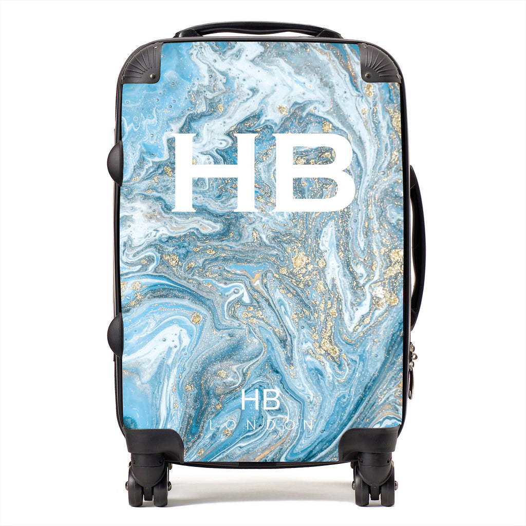 Personalised Blue and Gold Marble with White Font Initial Suitcase