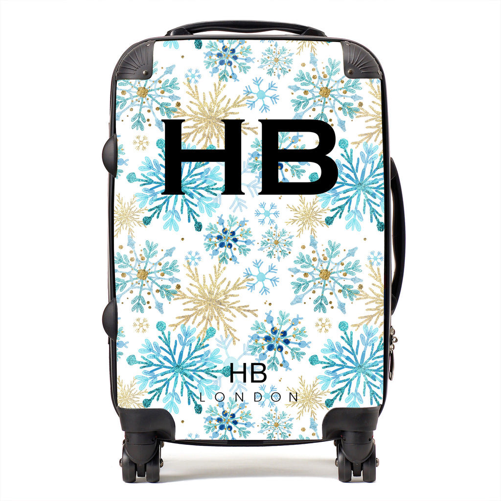 Personalised Blue and Gold Snowflake with Black Font Initial Suitcase