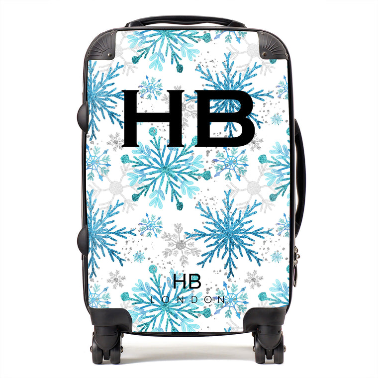 Personalised Blue and Silver Snowflake with Black Font Initial Suitcase