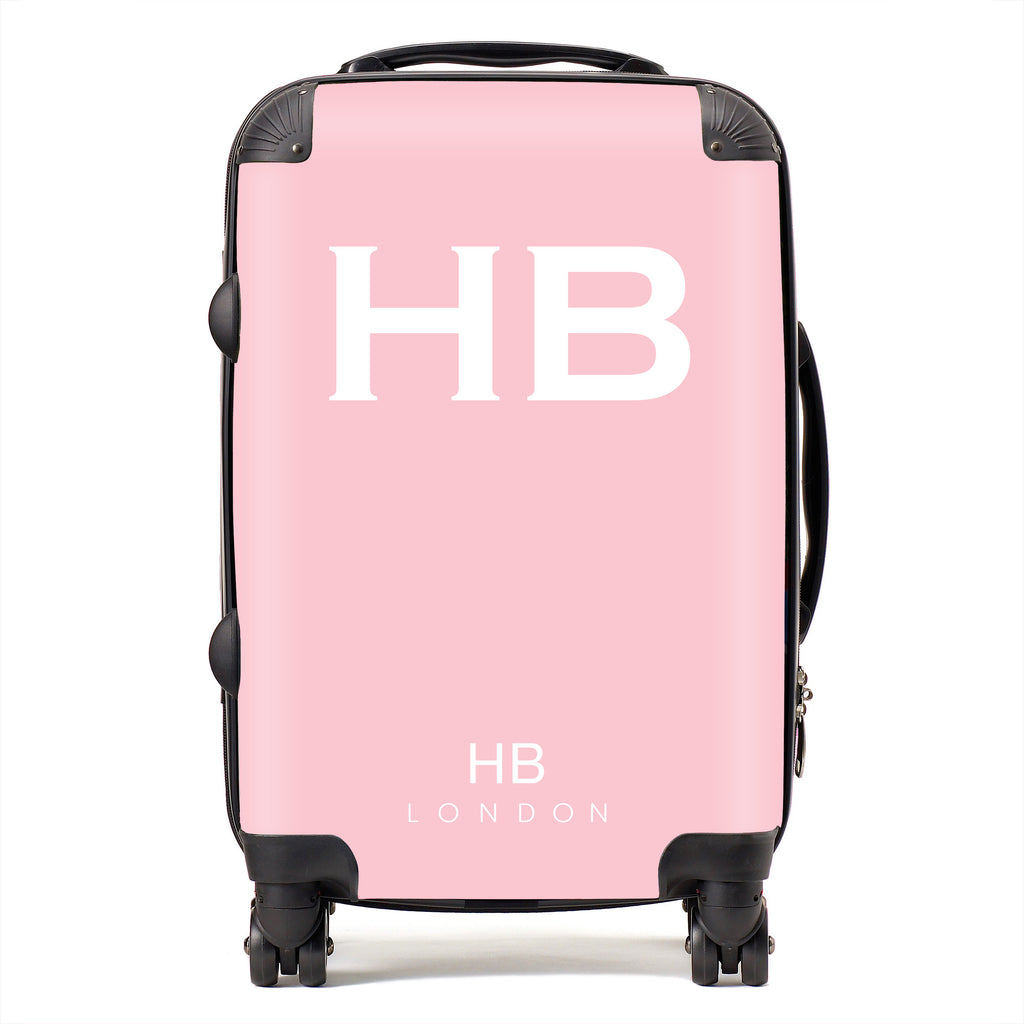 Personalised Blush with White Font Initial Suitcase