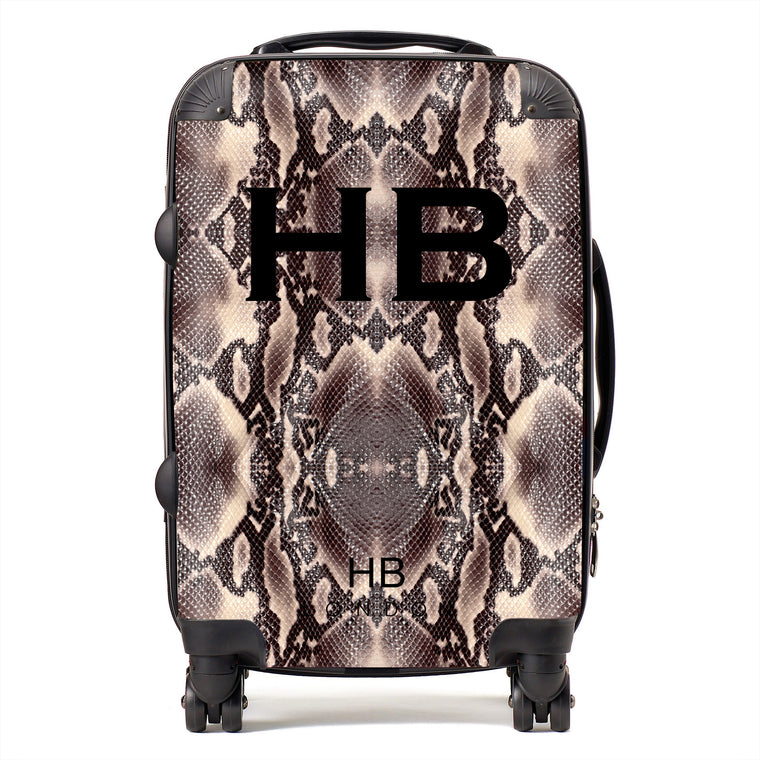 Personalised Python Snake Skin Print with Black Font Initial Suitcase