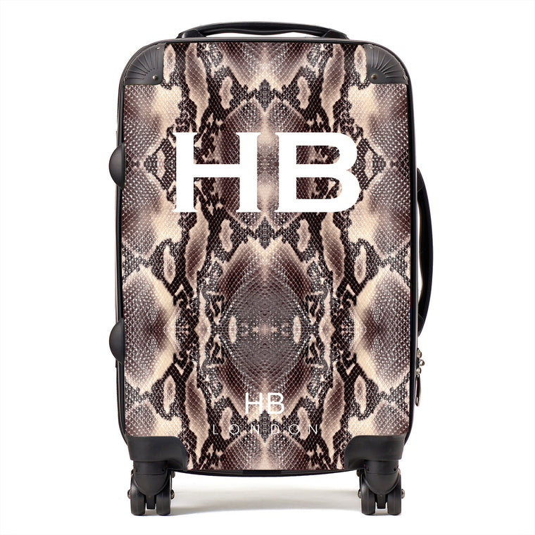 Personalised Python Snake Skin Print with White Font Initial Suitcase