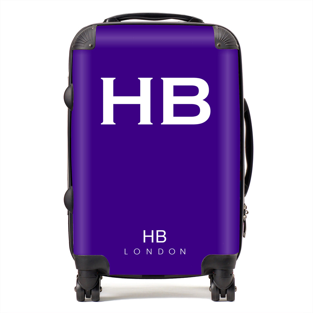 Personalised Cadbury Purple with White Font Initial Suitcase