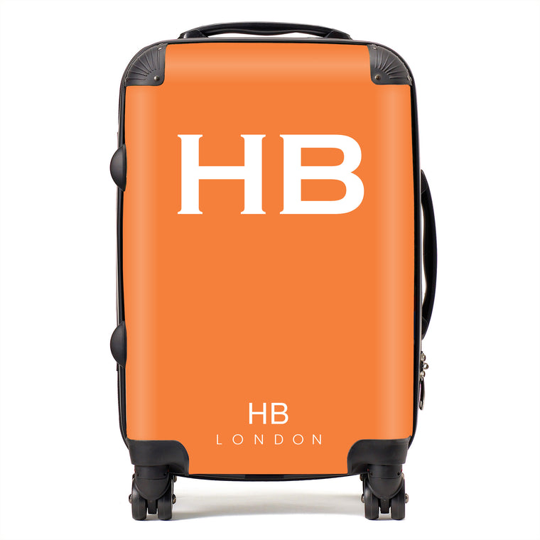 Personalised Clementine with White Font Initial Suitcase
