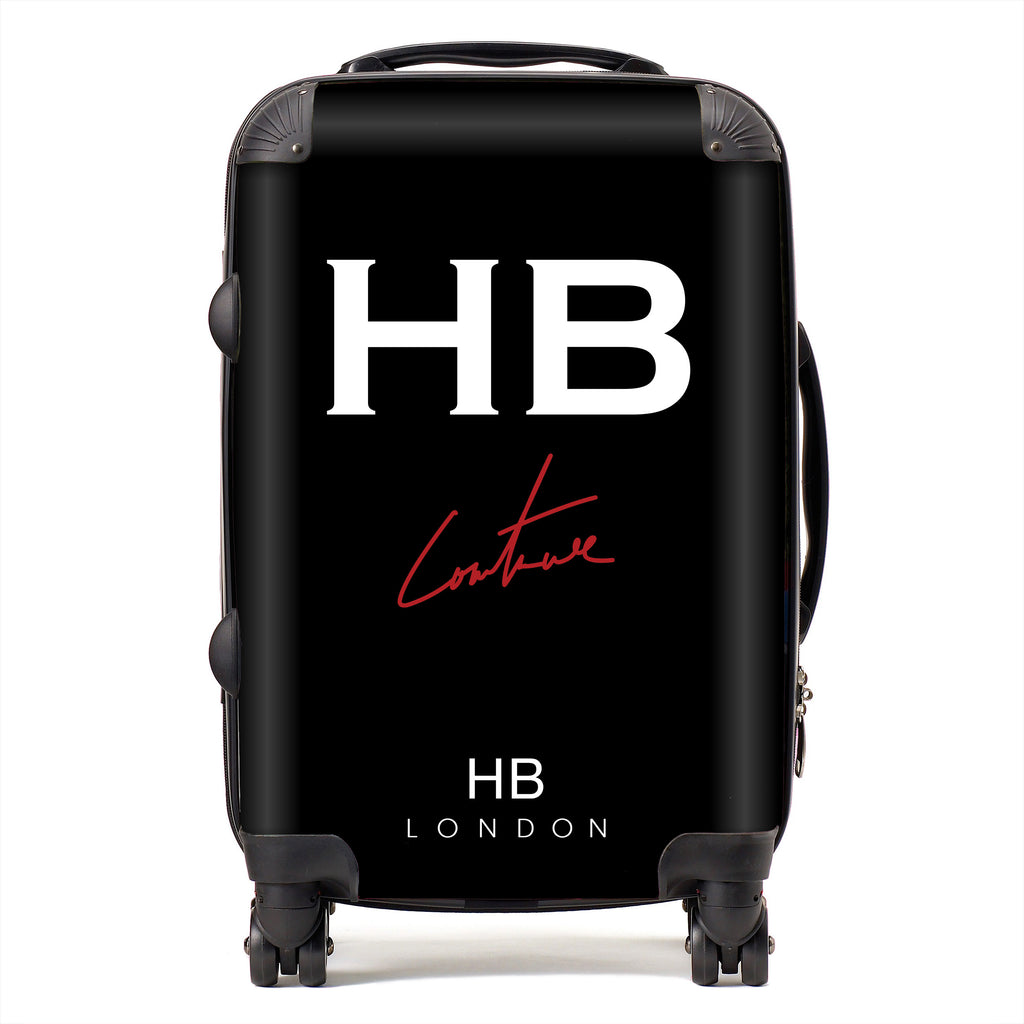 Personalised Black Couture Club Logo Initial Suitcase