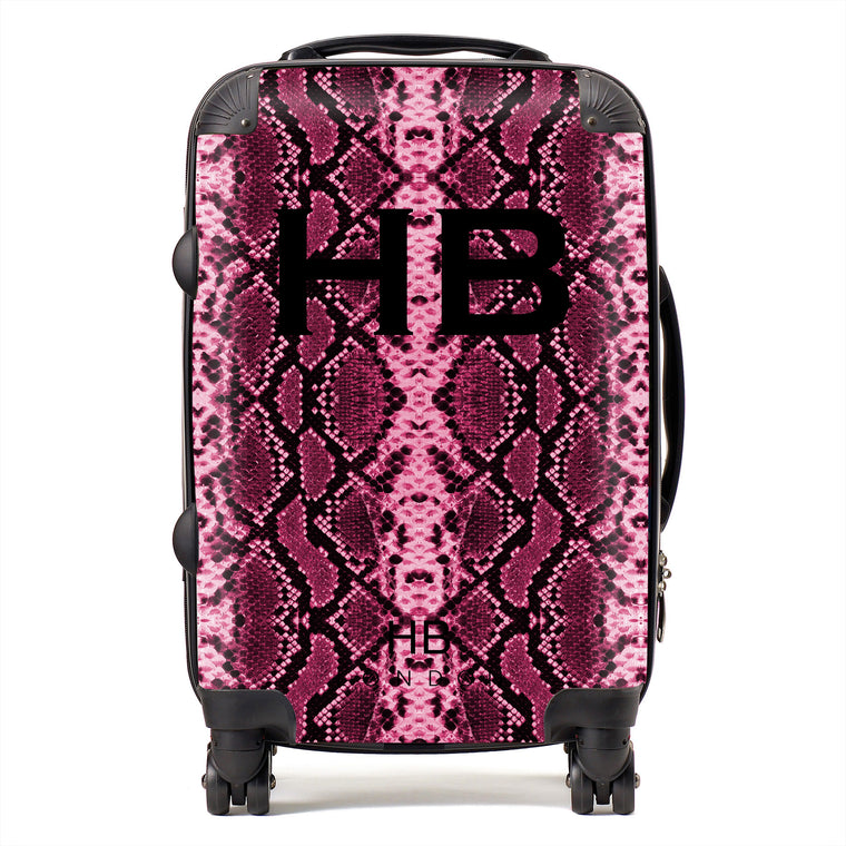 Personalised Cranberry Snake Skin Print with Black Font Initial Suitcase
