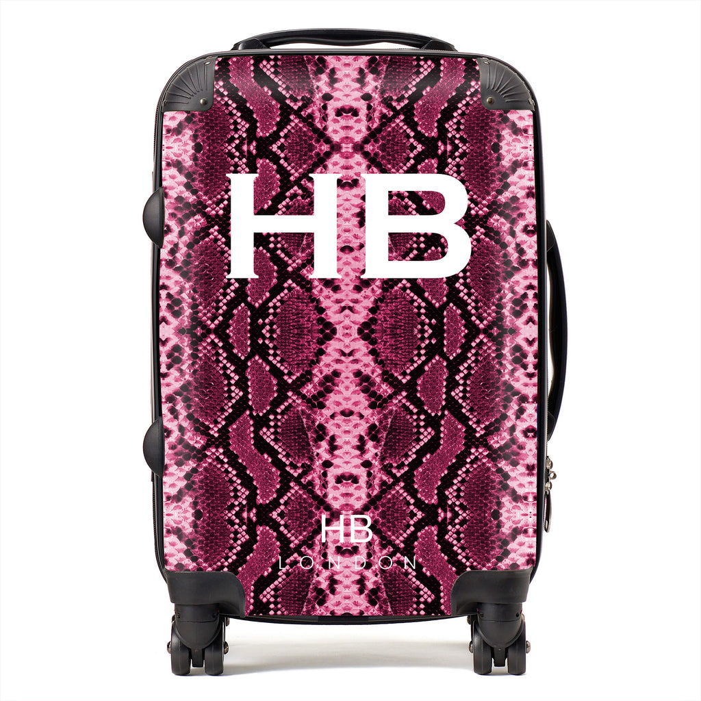 Personalised Cranberry Snake Skin Print with White Font Initial Suitcase