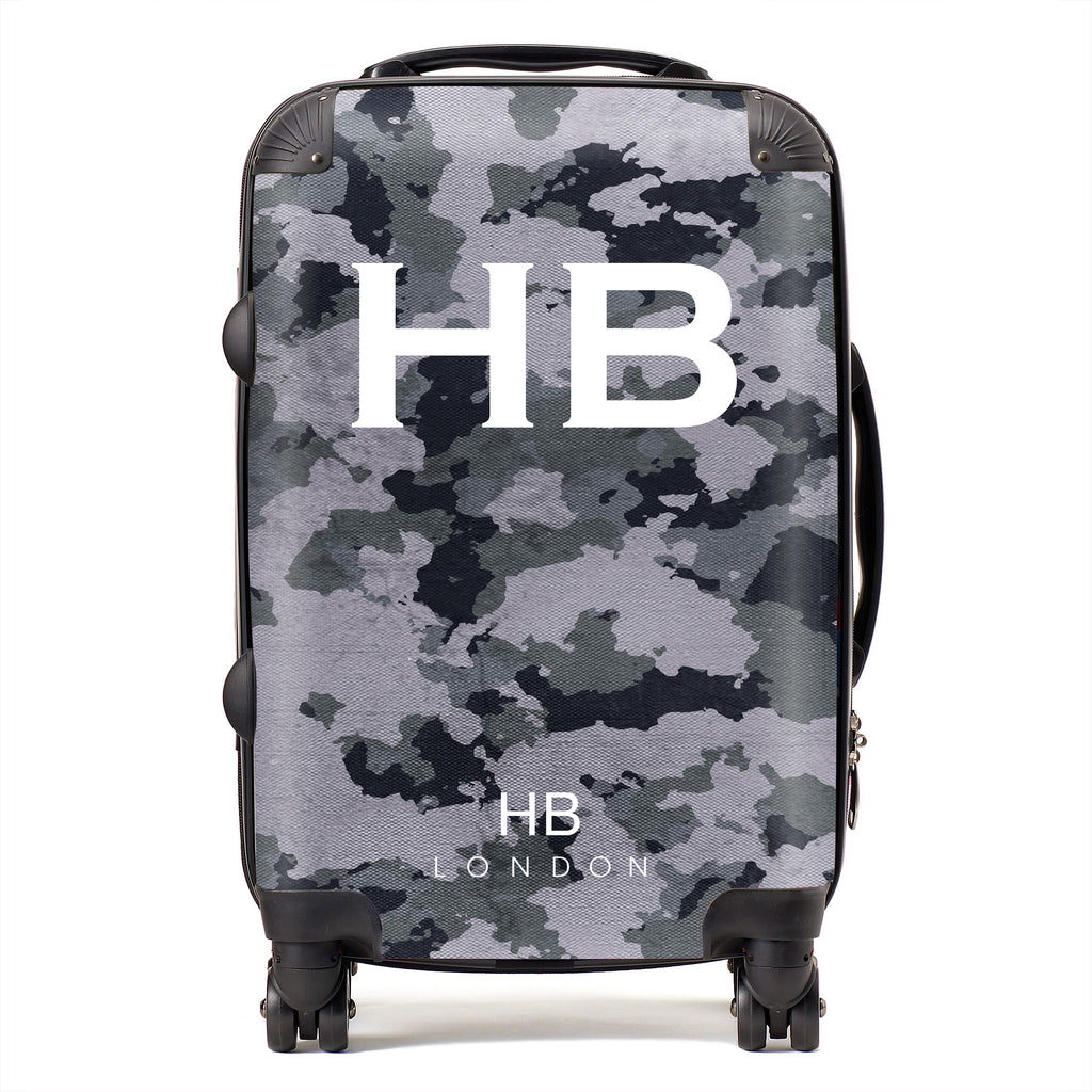 Personalised Dark Grey Camouflage with White Font Initial Suitcase