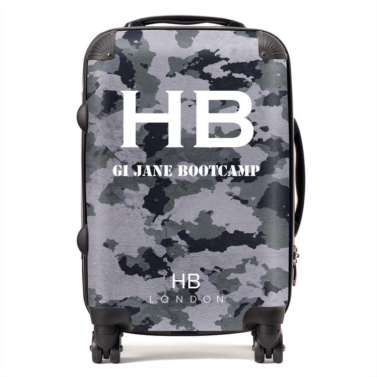 Personalised GI Jane Bootcamp Dark Grey Camouflage with White Font Initial Suitcase