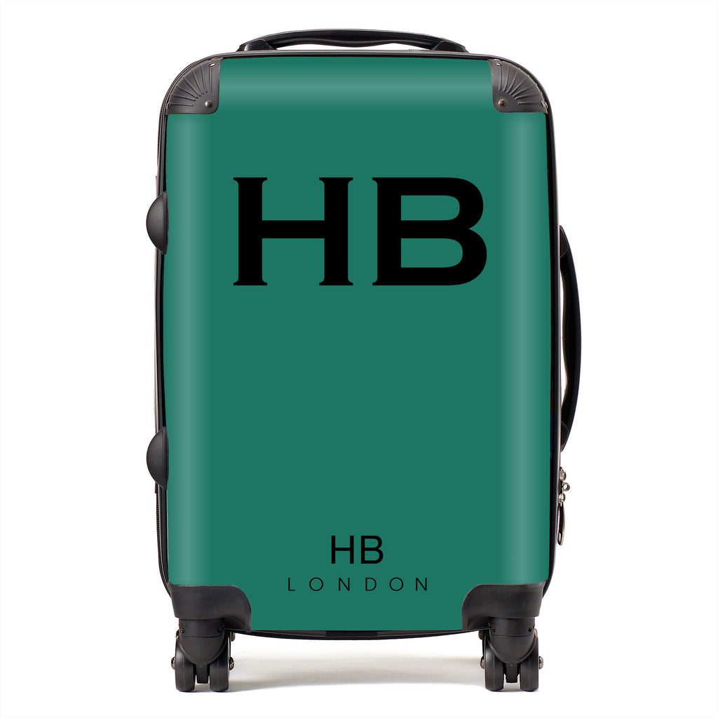 Personalised Forest Green with Black Font Initial Suitcase
