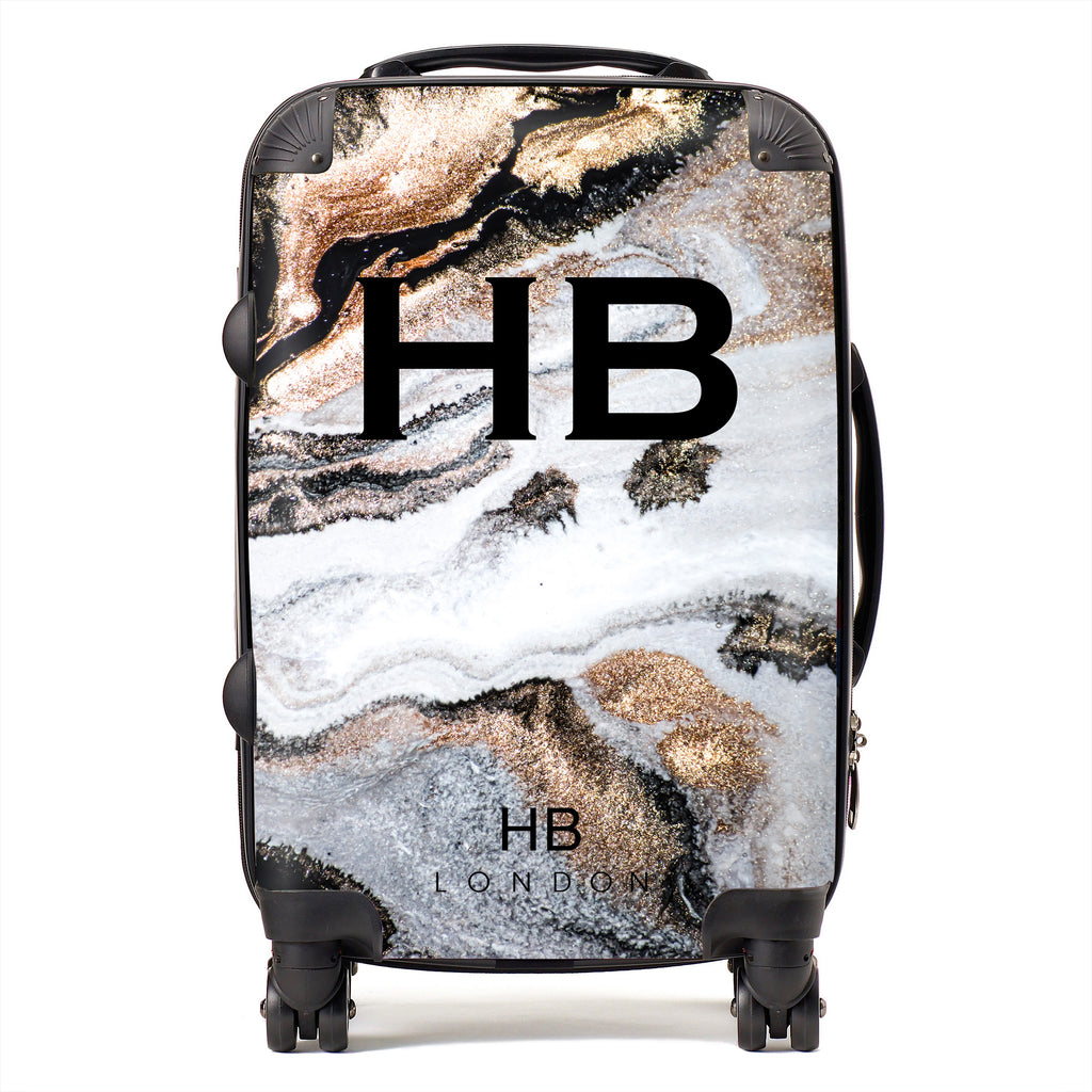 Personalised Golden Charcoal Liquid Marble with Black Font Initial Suitcase